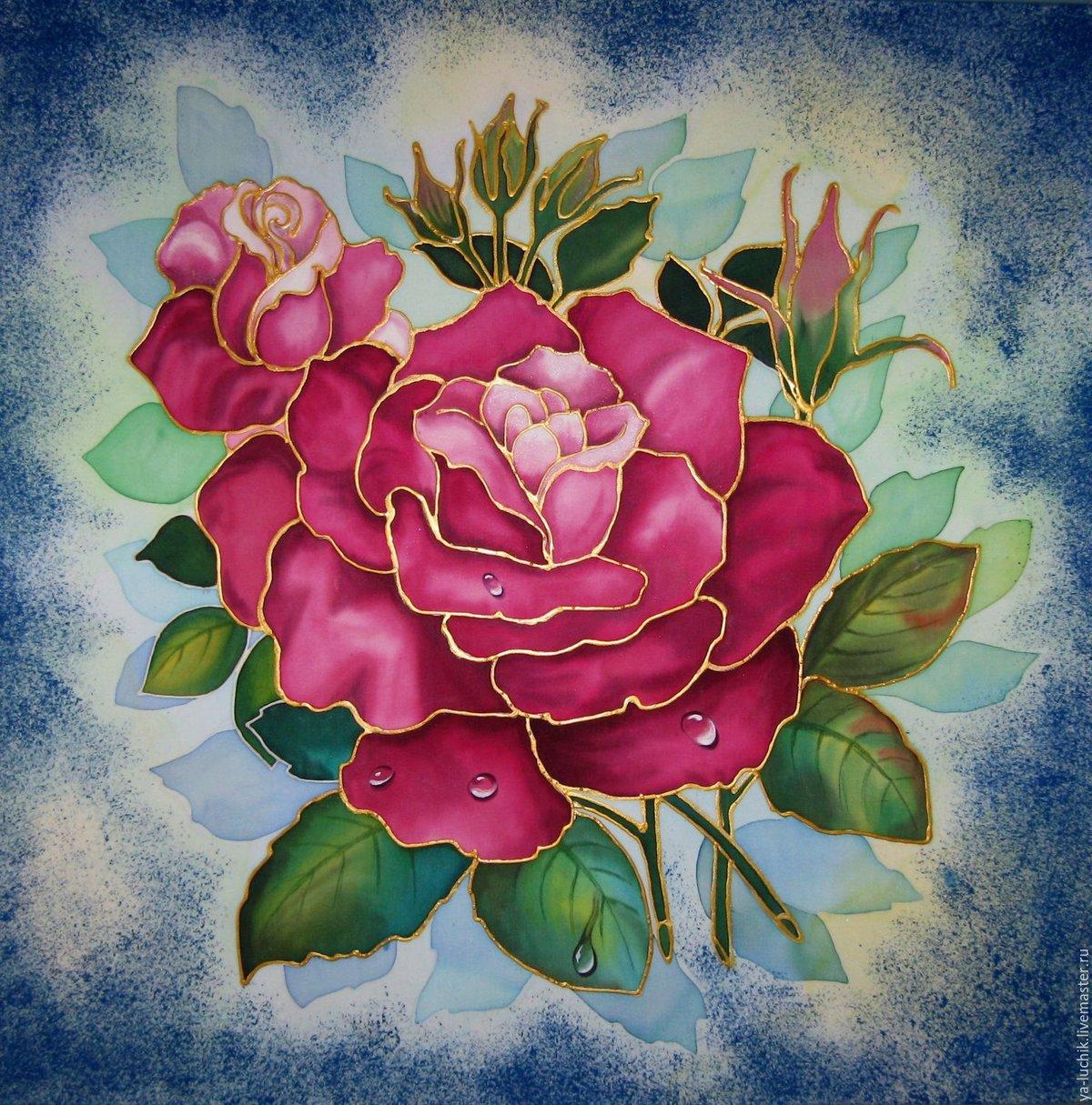 рисунок батик цветы поза для