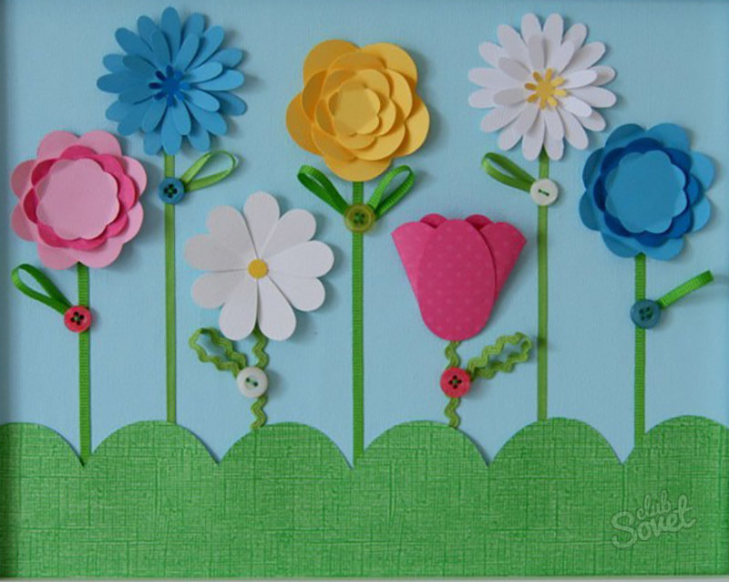 Открытки, открытка с цветами поделка ребенка