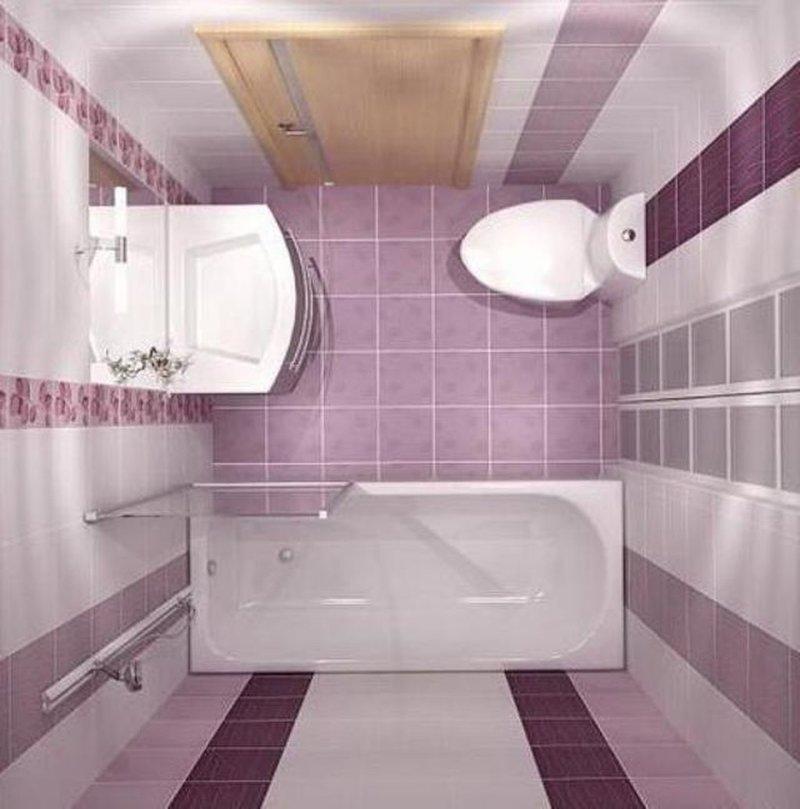 Красивая маленькая ванная комната в стильных лиловых оттенках