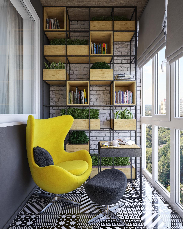 Квадратный балкон дизайнерские решения.