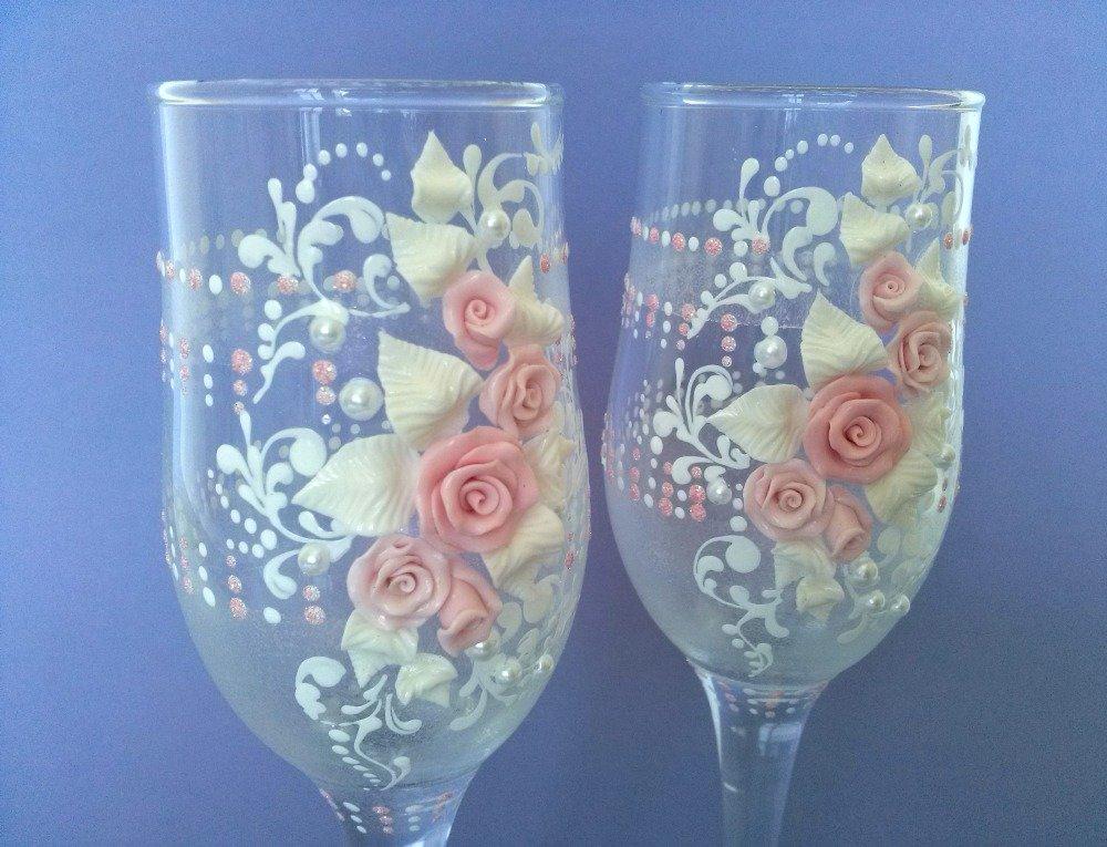 Декорируем бокалы полимерной глиной