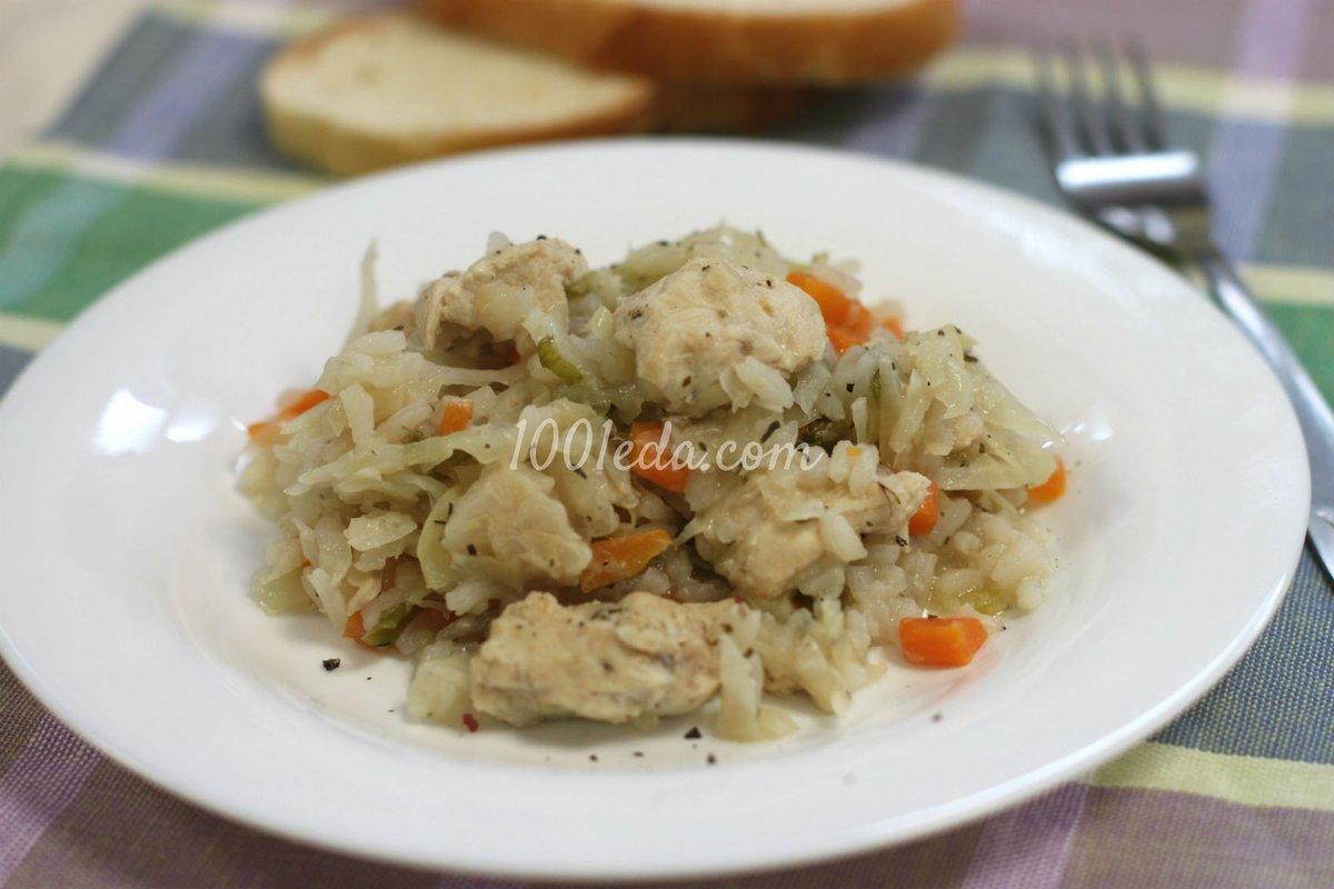 тушеная капуста с рисом и с курицей