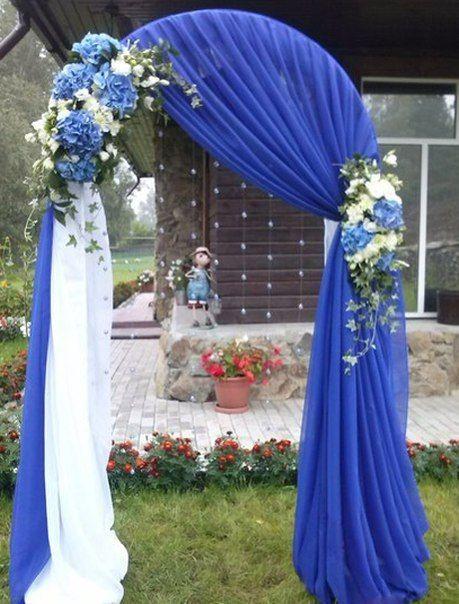 Фото арка для выездной регистрации с синими цветами 37