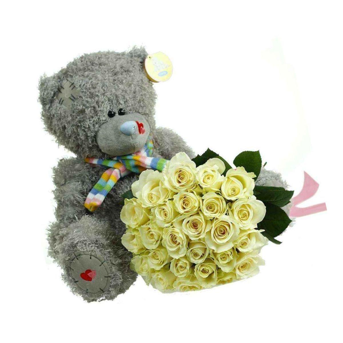 Картинка мишка с букетом цветов