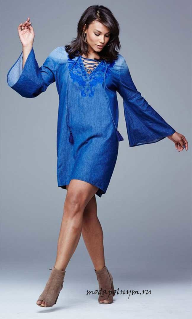 3a61a52ad5c69e5 Составляем стильные образы с платьем из Самые модные и красивые, джинсовые  платья для полных! Составляем стильные образы с платьем из