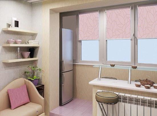 Кухня, совмещенная с балконом. расширение кухни за счет балк.