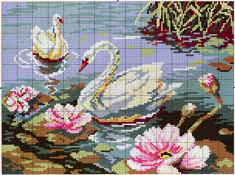 Картина крестиком - лебеди на пруду.