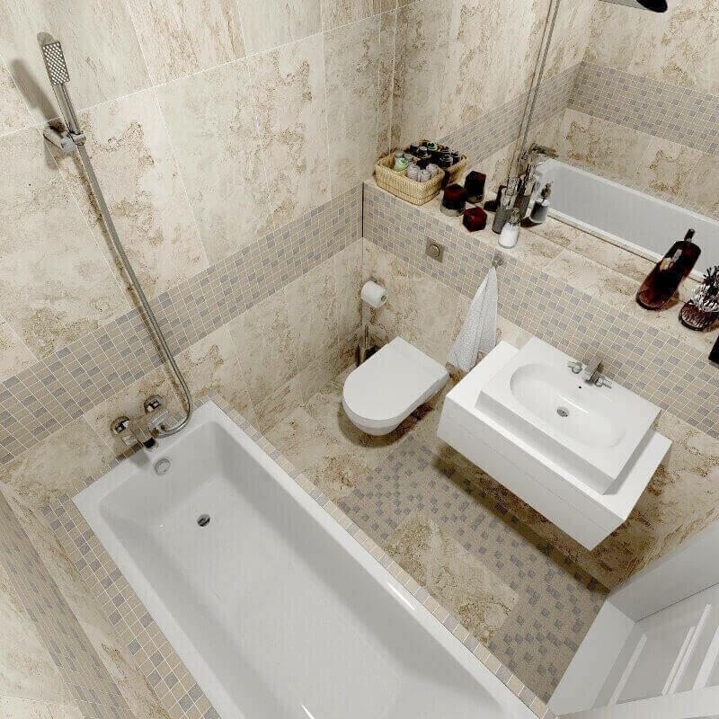 ванная в клеточку в кафейных тонах