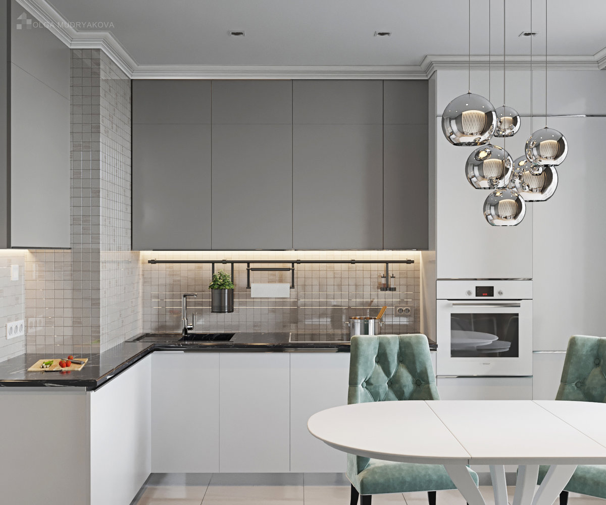 кухня в серых тонах дизайн фото этого