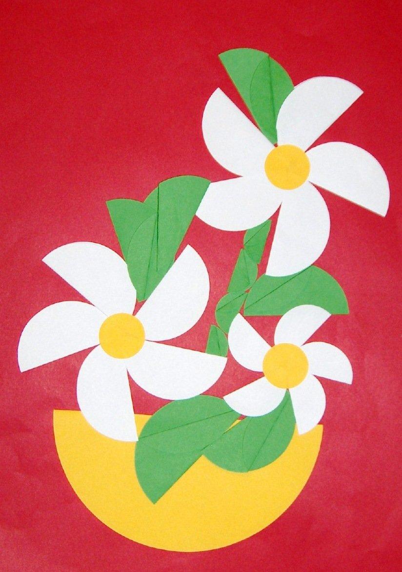 Онлайн, картинки аппликация цветы из цветной бумаги