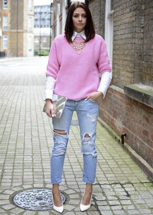 Розовый Пуловер Женский