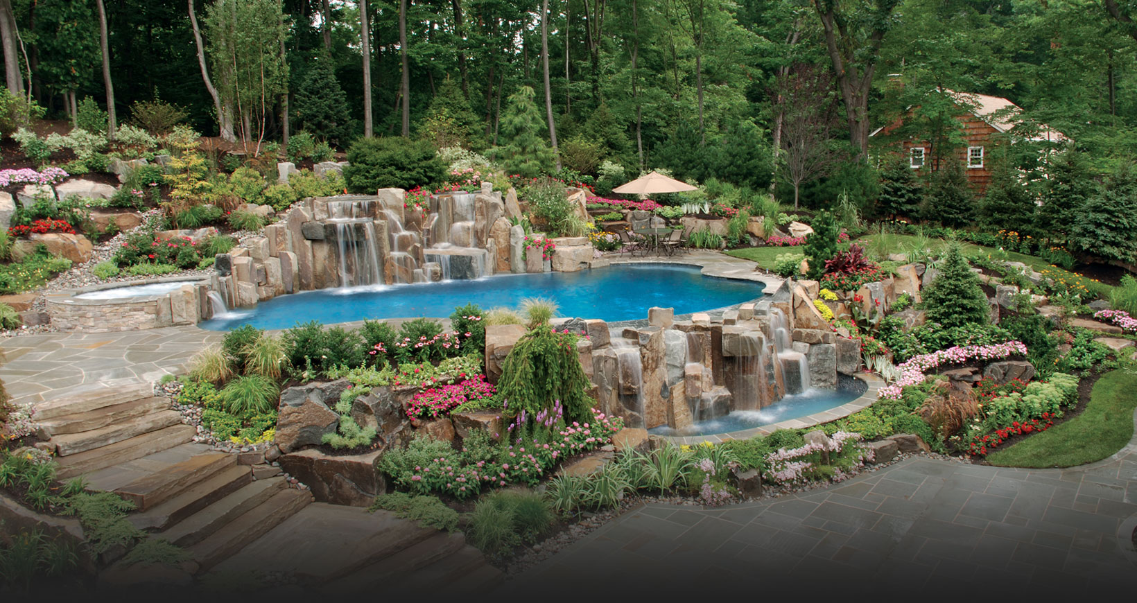 Wonderful Pool Design Outdoor Swimming Pool With Garden Surround It ...