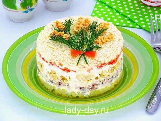 Салат с рыбной консервой мимоза
