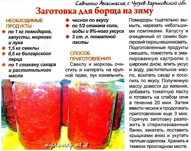 рецепт заправки для борща на зиму со свеклой без капусты