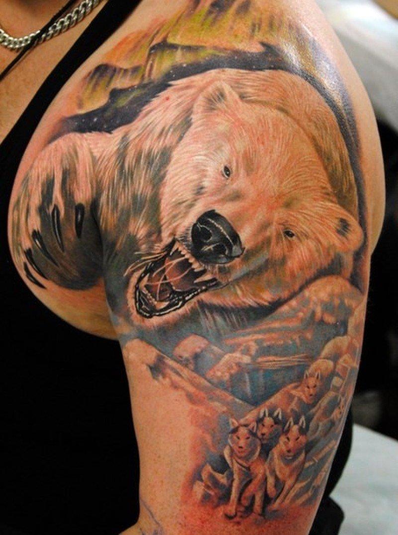 слюнных фото татуировок медведя на плече можно отметить день