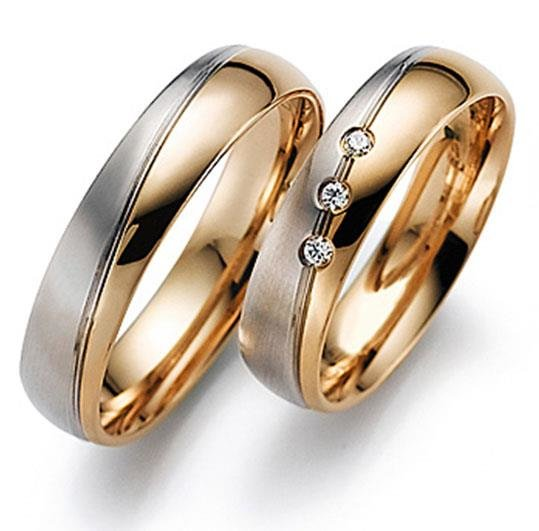 da26fd48831d Обручальные кольца классические из белого и розового золота ...