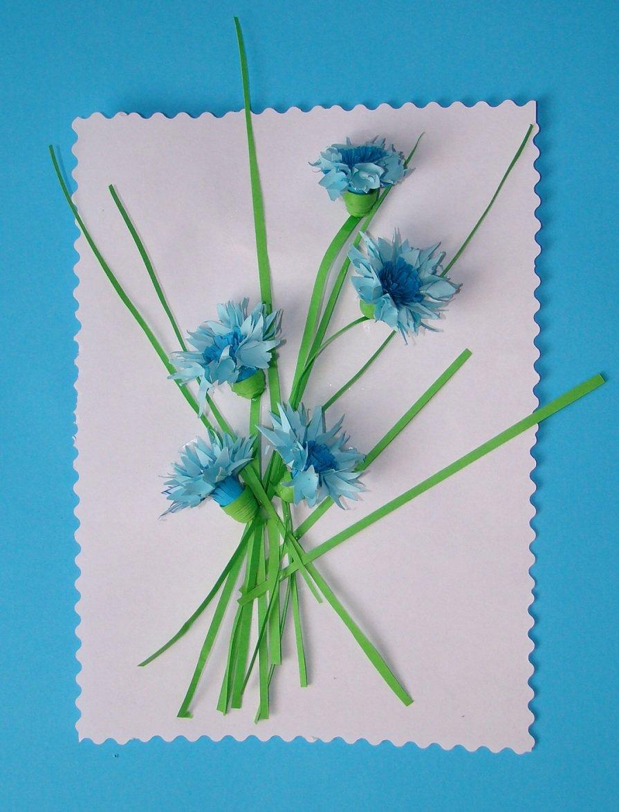 Открытки своими руками цветы из гофрированной бумаги