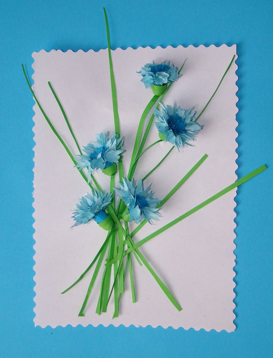синие цветы для открытки своими руками косметические диски