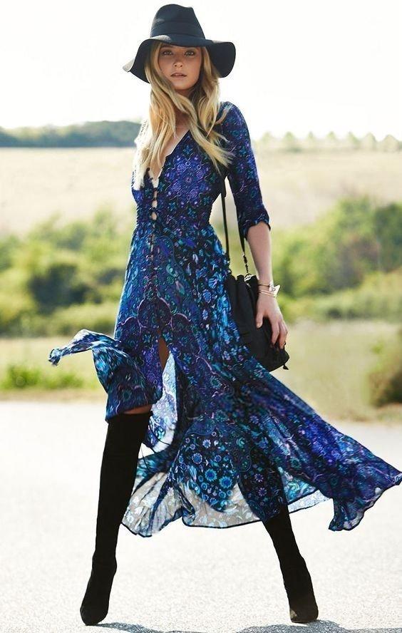 Платье из шифона в стиле бохо