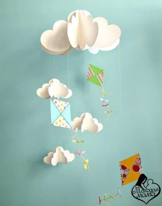 Днем рождения, открытка зонтики объемные с облаками