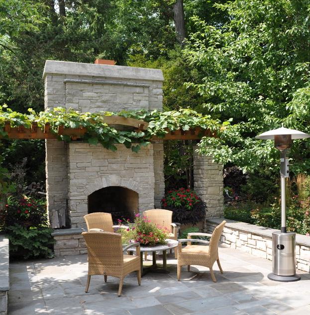 Место для барбекю в саду электрический угловой камин гренада