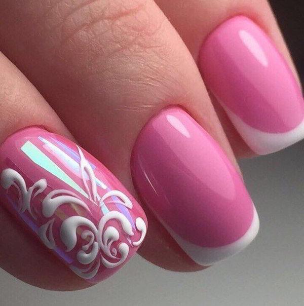 Розовый французский маникюр 2017