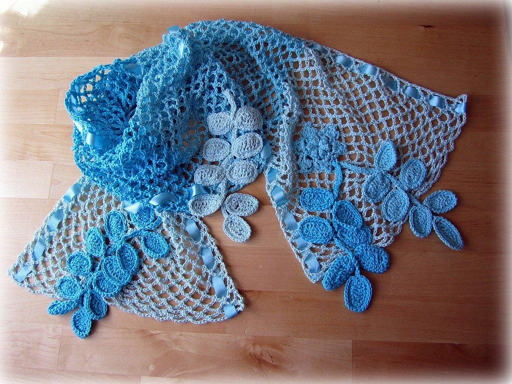 Картинки ажурные шарфики крючком