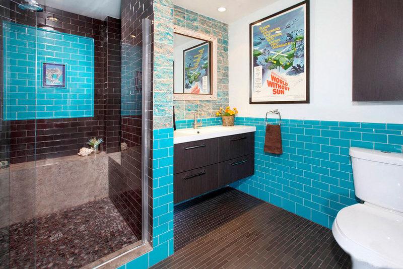плитка для туалета бирюзовая с коричневым термобелье