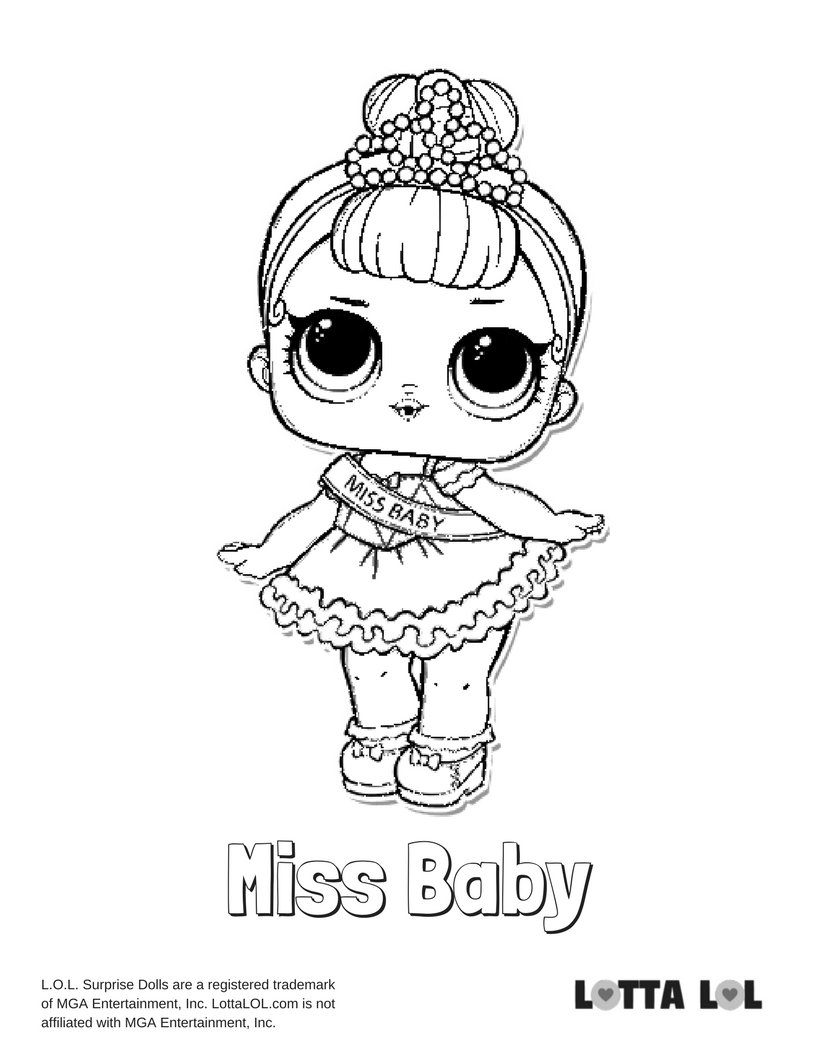 Miss Baby Lol Surprise Doll Coloring Page Lotta Lol Card From