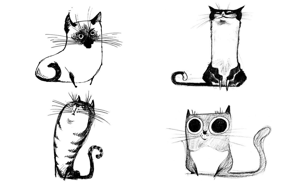 Как нарисовать прикольные рисунки кошек, люблю