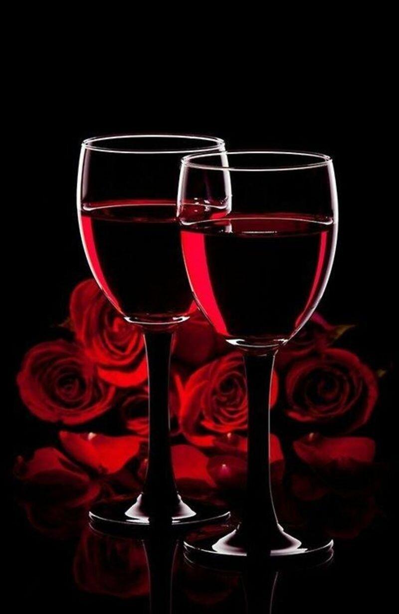Цветами, бокалы с вином картинки анимация