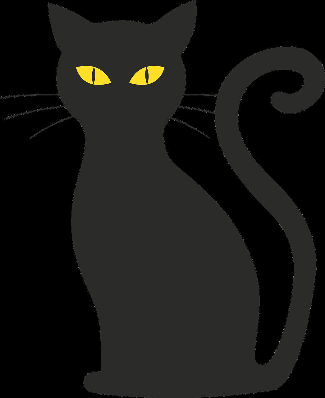 Черный кот силуэт картинки