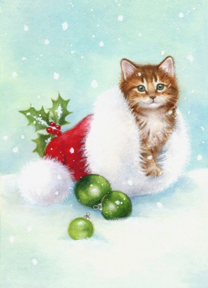 Открытки с котятами на новый год