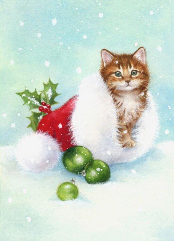 Картинки, новогодние открытки котята