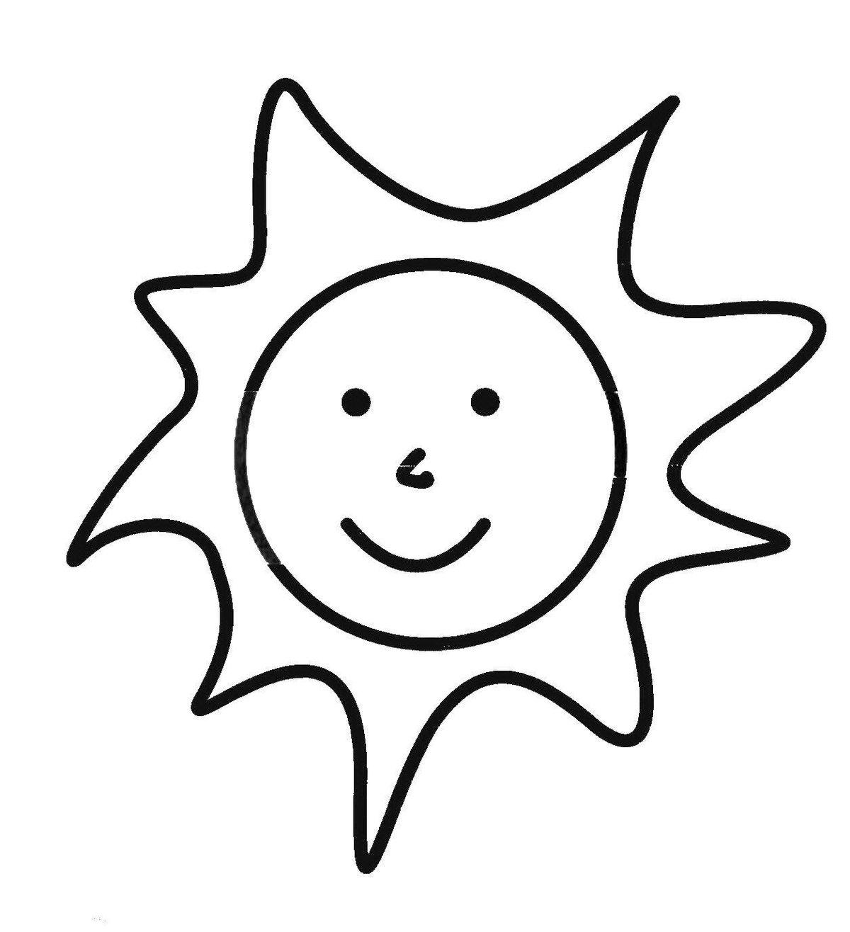 Рисунки, солнце картинка для детей раскраска