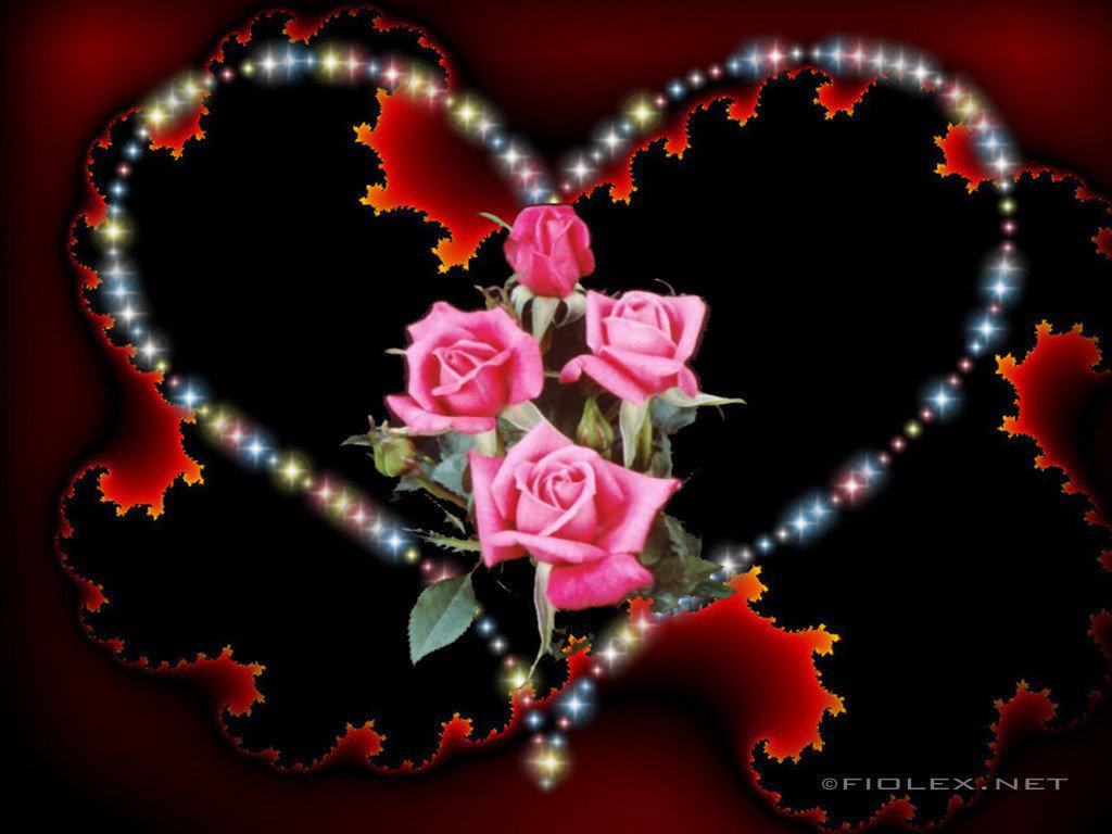 Картинки сердечки с розами мерцающие