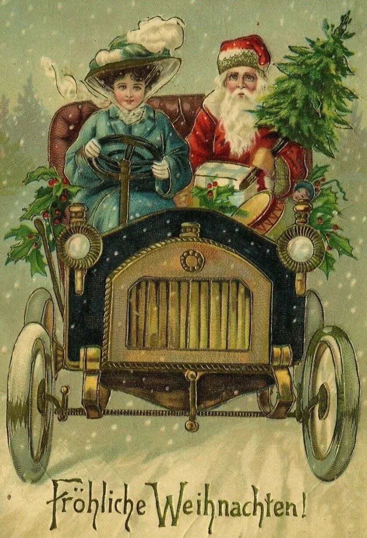 старые иностранные новогодние открытки сон сморил
