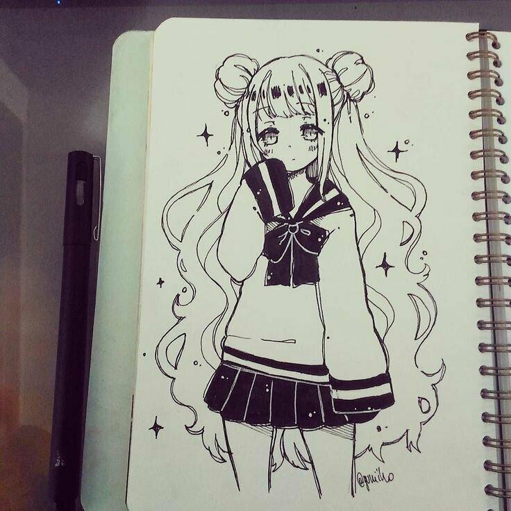 Прикольные картинки для срисовки в скетчбук легкие для девочек аниме