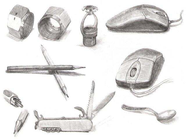 Рисунки предметов карандашом