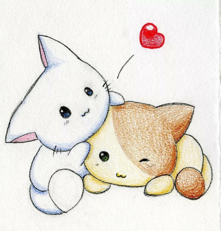 Как нарисовать открытку для подруги няшные картинки животных