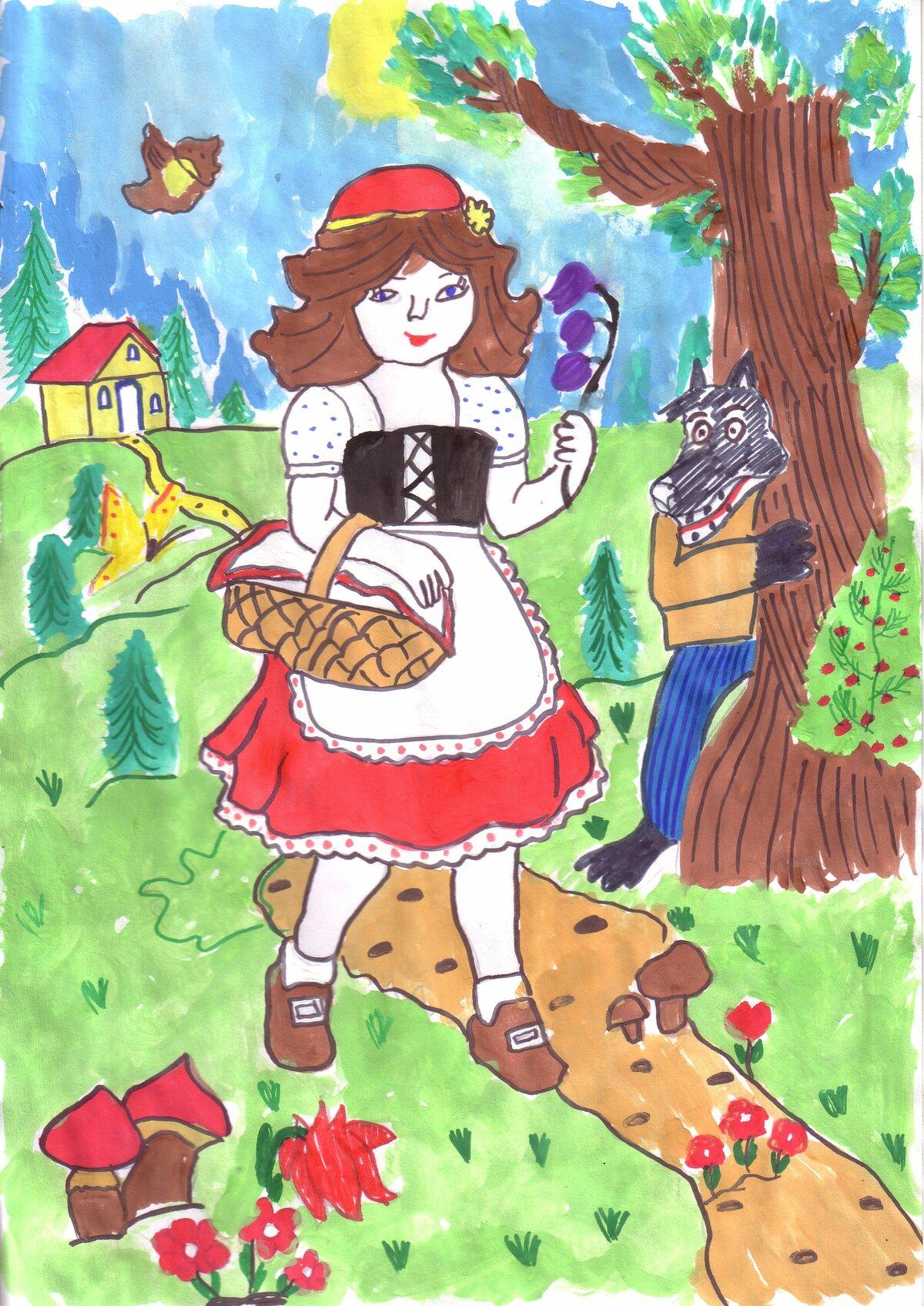 Картинки из сказки красная шапочка рисовать