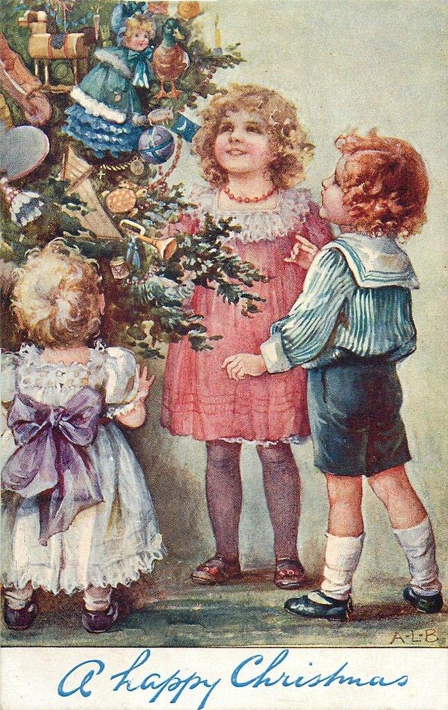 Юбилею, ретро открытки с елкой