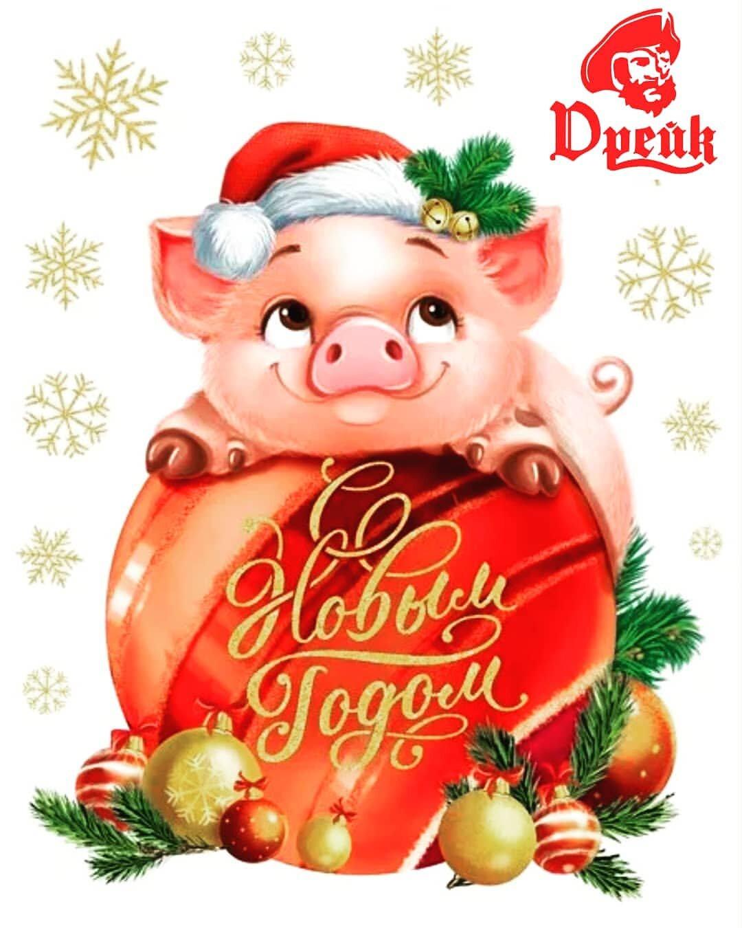 Поздравление с новым годом открытка свинки, лет