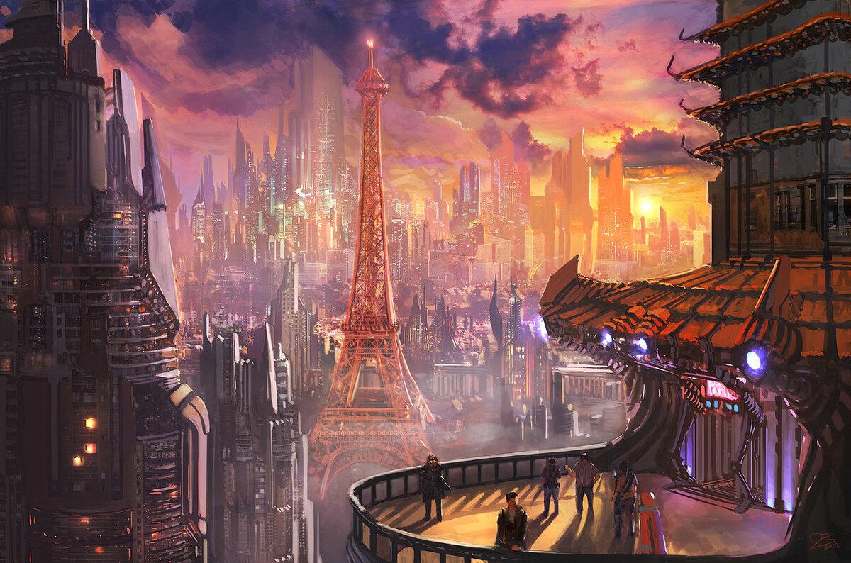 калифорнийской сияющей фантастика город рисунок новый проект войне
