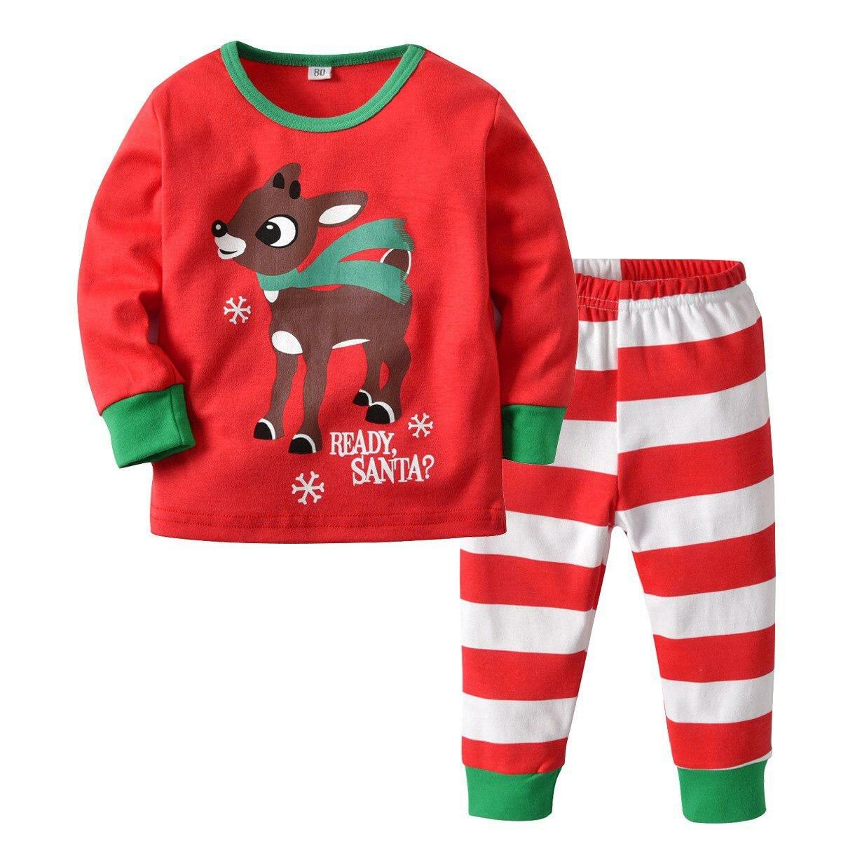 Рождественские детские пижамы набор мультфильм с принтом оленя для мальчиков  и девочек новый год пижамы хлопок 5934f9697b07a