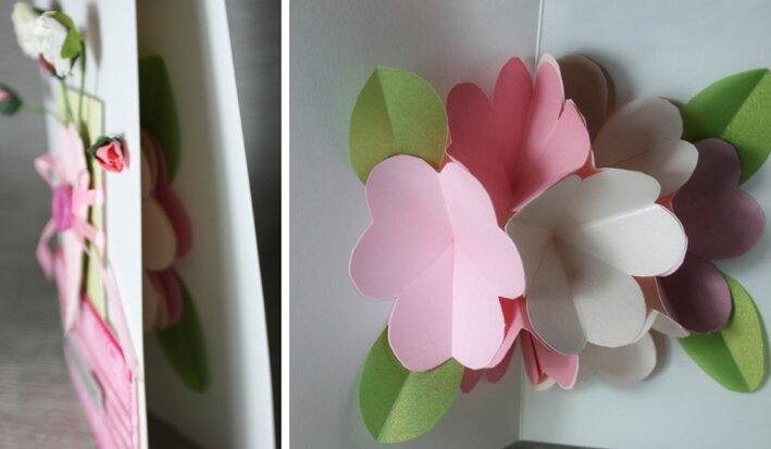 Объемная открытка с цветами из бумаги мастер класс
