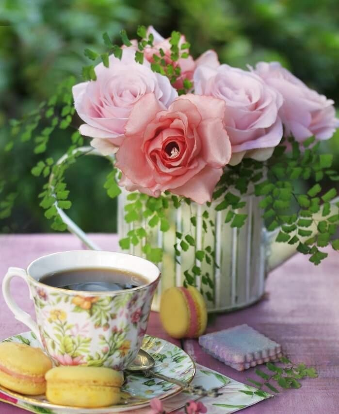 Картинки утро чай цветы, картинки