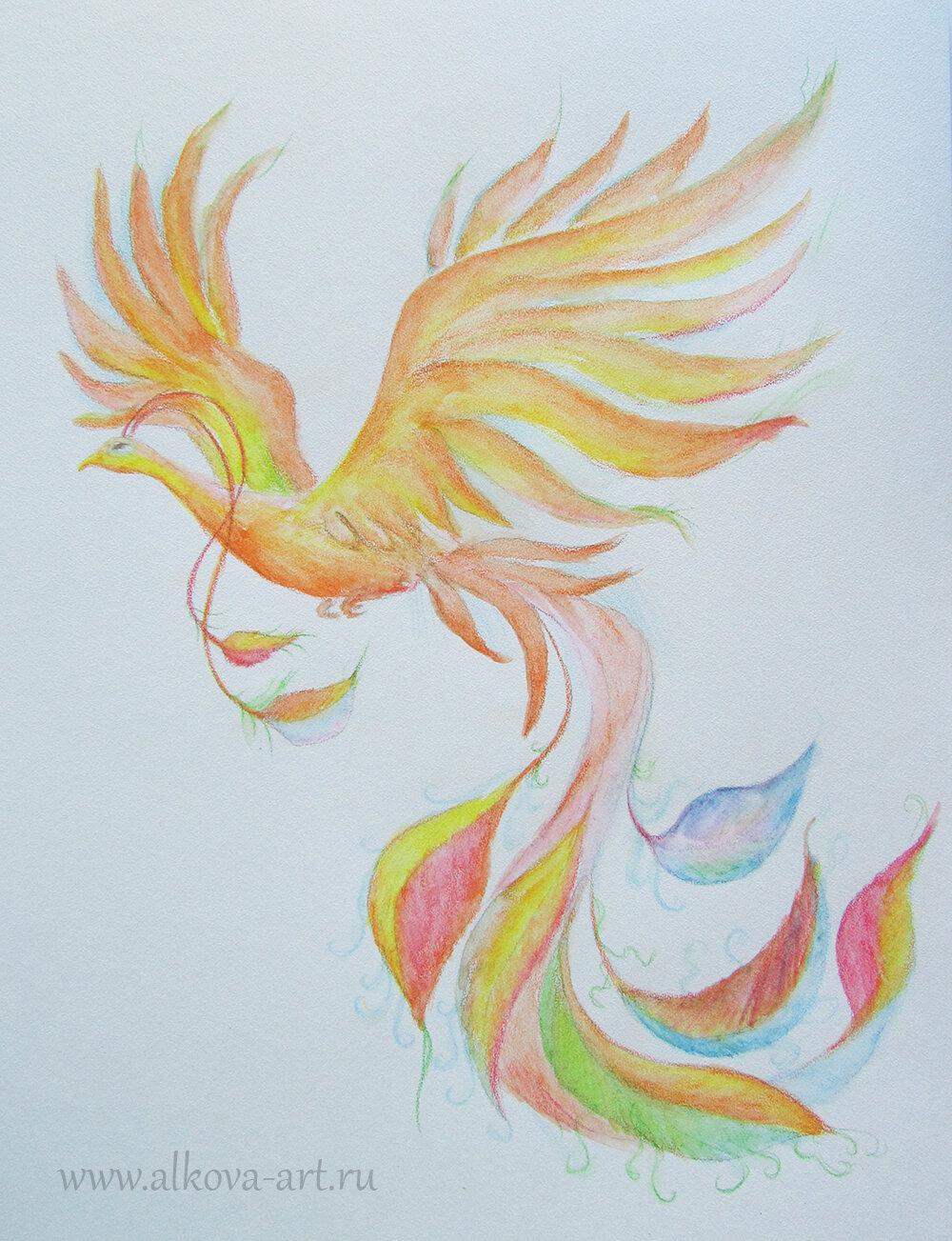 Детские рисунки жар птицы карандашом