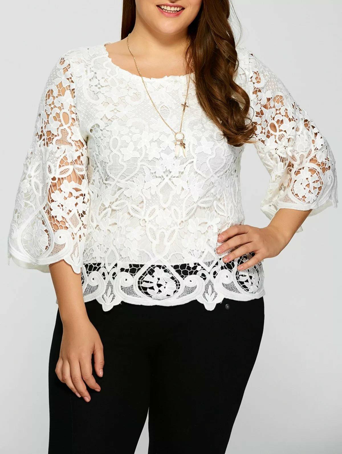 Блузка кружевная белая фото