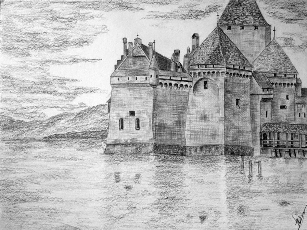 Средневековый замок картинки для срисовки